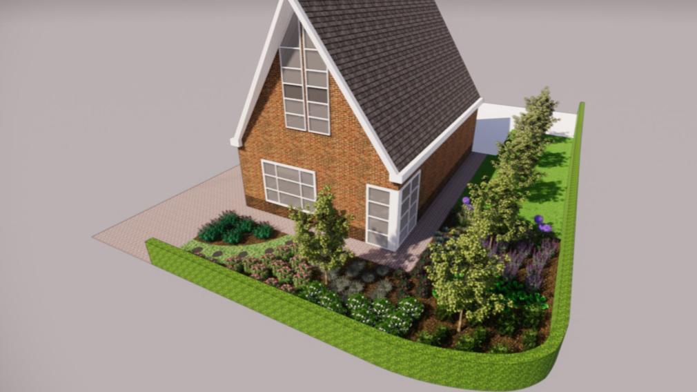 Overzicht vrijstaande woning tuinontwerp